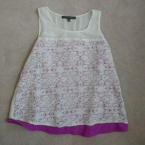 Cynthia Steffe Crochet Sheer Lace Overlay Tank Top